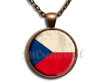 Czech Flag Glass Dome Pendant or with Chain Link Necklace SM139