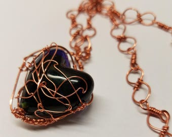 Wire Wrapped Glass Heart Necklace