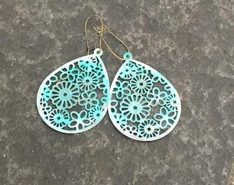 Turquoise Ombre Filigree Flower Teardrop Earrings  Bohemian Jewelry   Shabby Chic Boho Earrings  Metal Lace Filigree Teardrop Earrings