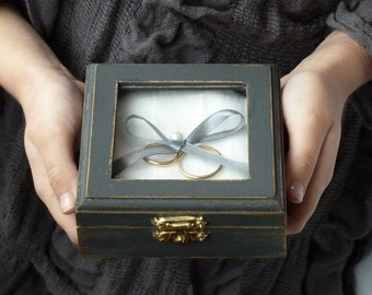Wedding Ring Pillow Ring Bearer Pillow Box Rustic chic Pillow Beach Shabby chic Wedding Dark Grey Wedding Ring Box