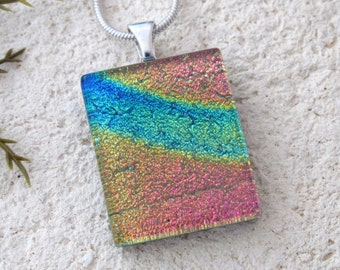 Dichroic Necklace, Gold Pink Blue Necklace, Dichroic Pendant, Fused Glass Jewelry, Dichroic Glass Jewelry, Silver Necklace,   081216p106