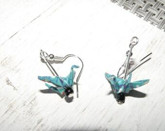 Birds blue-green with black bead earrings
