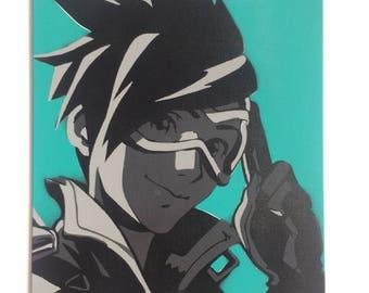 """Overwatch Tracer Portrait Spraypaint 30x40cm (11.8x15.7"""") - Mint"""