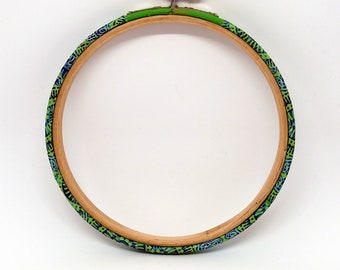 Embroidery Hoop - Decopatch Design -Green/Blue, Made to Order, Handmade