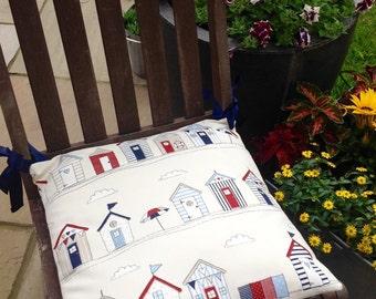 "Blue Beach Hut Cushion Pad with Ribbon ties - 16"" x 16"""