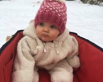 Valentines Baby Pom Pom Beanie, Baby Beanie Pom, Pink Baby Girl Hat, Baby Hearts Hat, Chunky Knit Pom, Baby Photo Prop, Baby Shower Girl