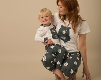 Mama Bear with Vest & Cub Bear Matching Family Pyjama Bundle, Matching Family Pyjamas,