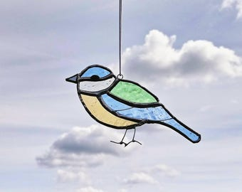 Blue Tit Stained Glass Suncatcher - MADE TO ORDER - Window or Wall Hanging Ornament - Bird Decoration - Gift for Her or Him - British Birds