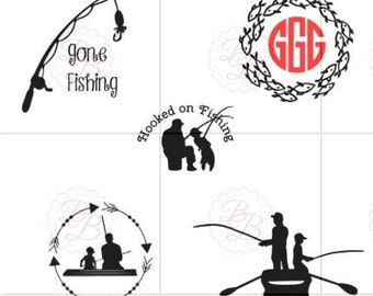 Fishing Monogram SVG  Personalized SVG Jpeg and PDF File