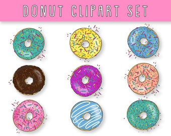 Donut Clipart - Set of 9 + 1 **BONUS** 1 fully Editable Ai Vector File