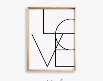 Love Quote Poster, Love Quote Print, Minimalist Poster, Line Art Print, Scandi Decor, Line Art Poster, Typography Art Digital Print