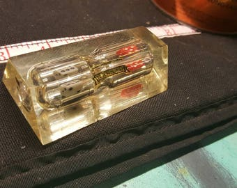 Vintage Lucite Pentagon Shaped Paper Weight, Nassau Souvenir. Hourglass W/ Dice