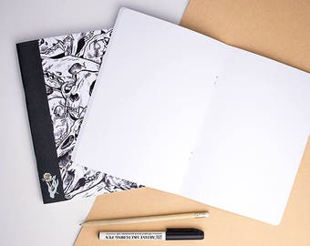 Notebook || Skulls - Notepad - Sketchbook - Note book - Notebook A5 - Notepaper - Sketch book - Sketch pad - Notebook Journal - Diary