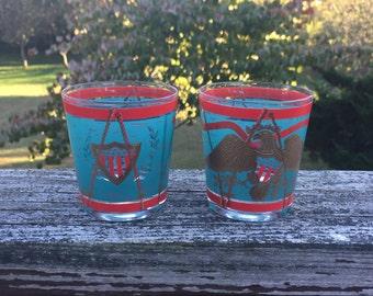 Tumblers Patriotic Glasses Eagle Tumblers Teal and Red Bar Ware