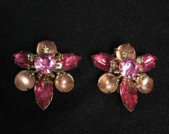 Vintage Pink Rhinestone Clip on Earrings