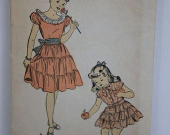 Advance Sewing Pattern # 4858 Gril's Dress size 4 from the 1940s