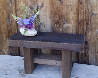 Rustic Wooden Bench, Small Wooden Bench, Book Stand, Rustic Small Table, Wooden Plant Stand, Rustic Furniture, Rustic Patio Furniture