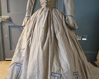 Quirky 1860s Civil War Era Silk Crinoline Dress - Victorian Antique Fashion