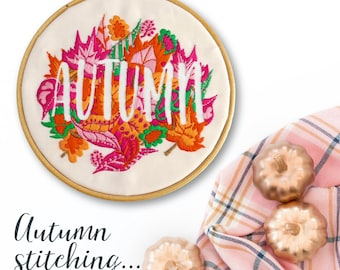 Hand Embroidery Kits Autumn | Modern Embroidery Kit | Beginner Embroidery Pattern | Embroidery Hoop Art | DIY Craft Gift | Thanks Giving