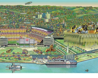 Pittsburgh Landscape, Heinz Field and Three Rivers Stadium Together; 3 print sizes; illustration by Kathy Rooney.