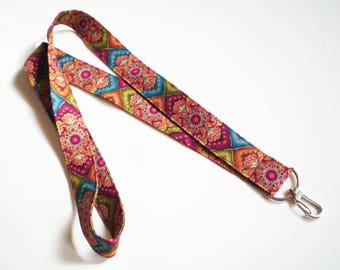 Boho Lanyard, Colorful Boho Lanyard, Gypsy Lanyard, Bohemian Lanyard, Hippie Lanyard, Turquoise Maroon Boho Lanyard, Boho Key Holder