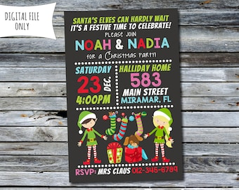Christmas Party Invitation / Elf Kids Party Invitation (Personalized) Digital Printable File