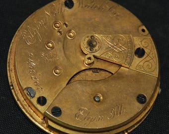 Gorgeous Vintage Antique Elgin Watch Pocket Watch Movement  Steampunk Altered Art Assemblage Industrial SM 38