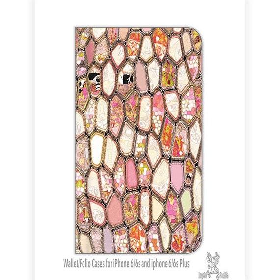 Cells in Pink, iPhone 6s plus wallet case, iPhone 6s wallet case, wallet case, Galaxy S6 wallet case, art, Folio case, S8 wallet case