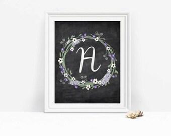 Chalkboard Monogram Wreath Print, Capital Letter A Initial Printable, Floral Nursery Decor