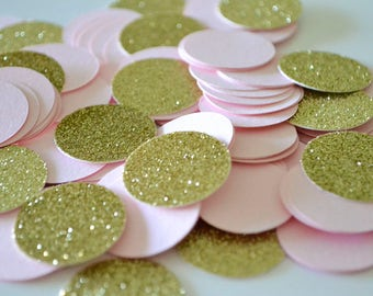 Pink and Gold Party Confetti - First Birthday Decoration Pink and Gold - Baby Shower Party Confetti - Bridal Shower Party Confetti