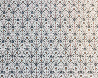 "Dollhouse Miniature Brodnax Victorian Wallpaper Cream & Blue ""Byzantium"" 1:12 Scale"