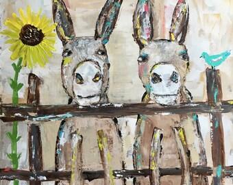 Donkey painting/farm animal art/original painting/sunflower art/nursery decor/kids bedroom wall art/bird art