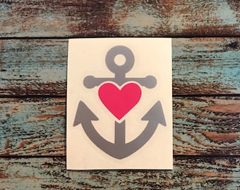 Anchor Heart Decal | Anchor Love Decal Sticker | Anchor Decal | Heart Decal | Love Decal | Yeti Decal | Car Decal | Window Decal