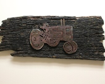 Rustic wood decor- metal tractor- reclaimed wood