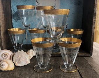 Tiffin Etched and Gold Rim Juice Glasses / Tiffin Optic and Etched and Gold Rimmed Barware