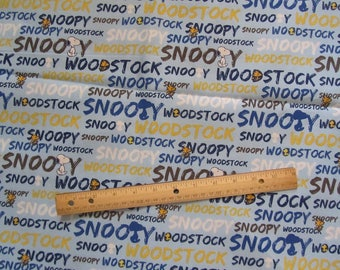 Blue Snoopy/Woodstock Words Cotton Fabric by the Half Yard