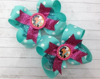 JASMINE BOW - Jasmine Birthday - Jasmine outfit - Jasmine costume - Jasmine Party - Princess Party - Over the Top Bow - Girls Hair Bows