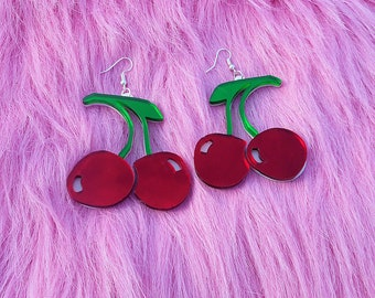 Cute CHERRY Acrylic Earrings in Red, White, Green With Silver Earring Hooks // Plastic Jewelry
