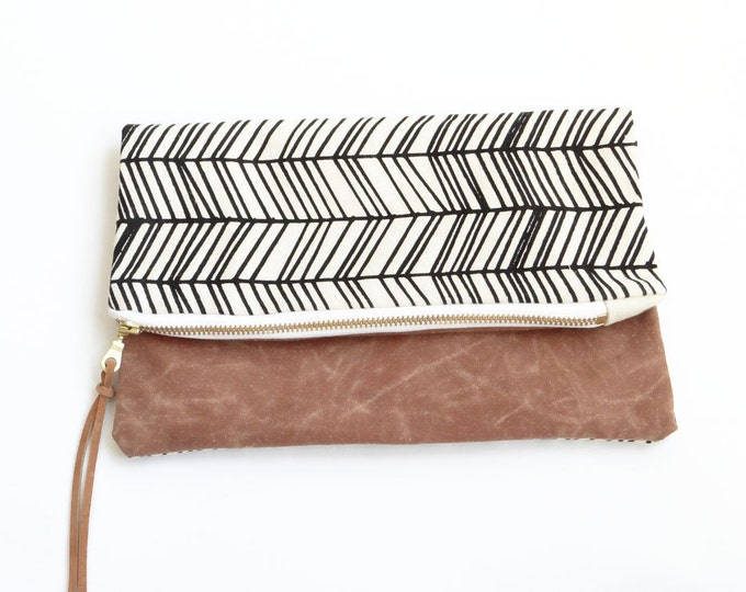Reversible Waxed Canvas Foldover Clutch - Natural Canvas with Skinny Herringbone Pattern
