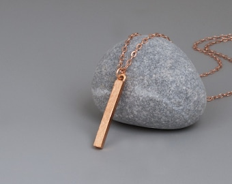 Rose Gold Bar Necklace, Vertical Bar Necklace, Stick Drop Bar, Minimalist Necklace, Layered Necklace, Simple Necklace, Gold, Sterling Silver