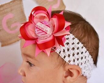 My First Valentines Day Hair Bow - Valentines Day Headband - Red and Pink Hair Bow - Valentines Day Hair Bows - Newborn Headband - Baby Bow