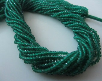 """5 Strings Natural Green Onyx  14"""" Inches string Faceted Rondelle Beads 2.25 MM"""