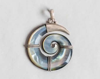Mother of pearl spiral pendant with sterling silver details