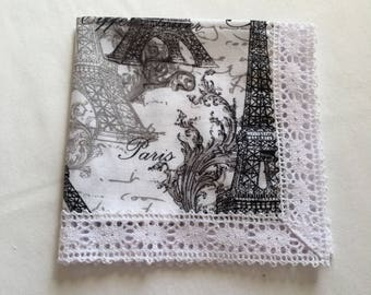 Ladies Cotton Handkerchief, Parisian print handkerchief, Paris handkerchief, Black and White Handkerchief