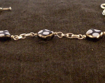 Black and silver polka dot bracelet