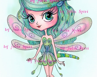 Digital Stamps, Digi stamp, Coloring pages Girl stamp, Dragonfly, Fantasy Scrapbooking. The Garden Dwellers Collection. The Little Dragonfly