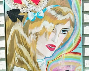 Alice Crying Rainbows,  fine art,  acrylic,  painting,  Dame Darcy,  psychedelic,  surrealist, Alice in wonderland