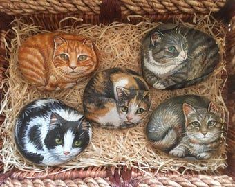Custom Cat Rocks- Custom Cat Portraits on Rocks - Painted Animals on Rocks - Cats - Painted Rocks