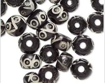 Rich Black & White  Carved Bone Drum Beads 10-8mm 25 Pcs