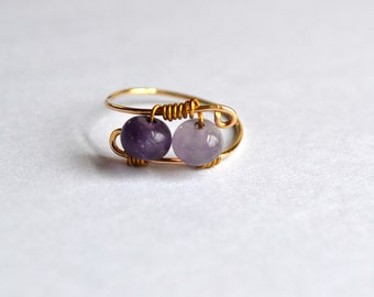 Gold Filled and Plated wire wrapped Amethyst Ring Size 6.5